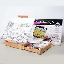 Beginners Acrylic Painting Set with Box Easel, Paints, Palette, Artist Brushes