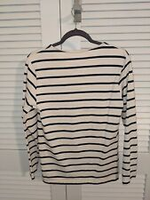 American Apparel Boat Neck Breton Stripe Navy Ivory Sweater XS USAMade Excellent