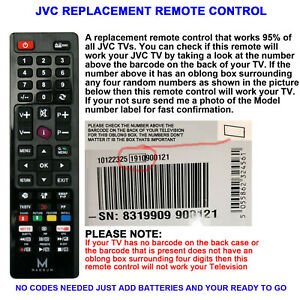 JVC TV REMOTE CONTROL A REPLACEMENT THAT WORKS 90% OF ALL JVC LCD/LED TVs