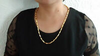 """18K Gold Plated No Stone Chain 22"""" Necklace & Gift Box, Men Women Birthday Gift"""
