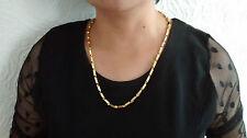 18 CT Bañado En Oro Sin Piedra Cadena 55.9cm Collar & Caja,Hombre De mujer