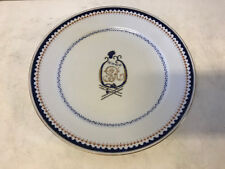 Antique Chinese Export Porcelain Plate w/ J R Harp Style Blue & Gold Decoration