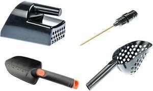 Metal Detecting Detector Tool Kit #2 BLACK Sand Scoop Hand Trowel Brass Probe