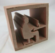 Cubic Extruded Brick Person Typing Profile Silhouette Ornament / Bookend