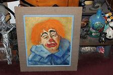 Vintage Clown Oil Painting On Board-Large Sad Clown W/Orange Hair-Clown Portrait