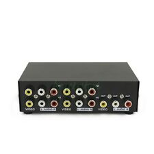 4-Way 4 In 1 Out RCA AV Switch Video Audio Switcher Control Selector Box DVD STB