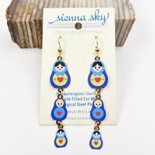 Hook Handpainted Three Nesting Dolls Sienna Sky Earrings 925 Sterling Silver