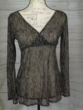 New York And Co Womens Blouse Size XS Sheer Long Sleeve Geometric Tie Bck B7/357