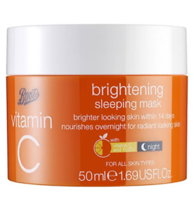Boots 1 Brightening Sleeping Mask & 1 Moisturising Cream with Vitamin C YUZU New