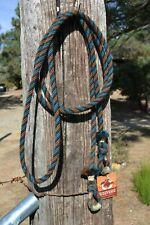 """3/8"""" Alpaca Hair Loop / Roping / Trail Reins 6 St x 10 ft- Chestnut/Teal/Black"""