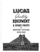 Lucas Parts Manual Book FRANCIS BARNETT 1958, 1959, 1960, 1961 & 1962