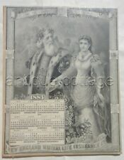 1884 antique NEW ENGLAND MUTUAL LIFE INSURANCE CO boston ma CALENDAR father time
