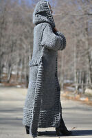 DUKYANA Hand Knitted WOOL CARDIGAN no Mohair Sweater coat Chunky soft Hooded L
