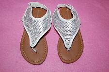 Toddler Girls WHITE w/ SILVER SPARKLE RHINESTONE V THONG SANDALS Ankle Strap 9