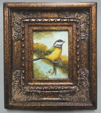 Miniature oil painting beautiful Goldfinch bird on tree branch in ornate frame