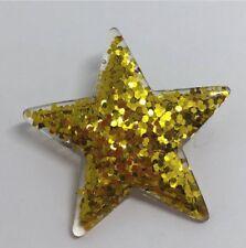 Gold Glitter Large Star Glitter Charms Resin Brooch Pin Badge G010 Kitsch Fun