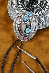 Navajo Sterling Silver Turquoise & Coral  Bolo Tie Signed EIY For Emery Yazzie