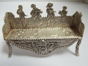 BEAUTIFUL RARE ENGLISH ANTIQUE 1896 STERLING SILVER NOVELTY MINIATURE SOFA CHAIR