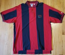 Vintage 90s CHAMPION Olympics polo shirt red black striped rings collar USA team