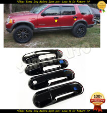 For 2002-2010 Ford Explorer+Sport Trac Glossy Black Door Handle Covers+Bowls Set