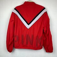 Pink Victorias Secret Windbreaker Jacket Medium Logo Full Zipper Red Womens A414