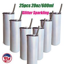 25pcs 20oz Sublimation Skinny Tumblers Glitter Sparkling Water Bottle With Straw