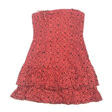 French Connection Dress Size 12 Red Black Strapless  $148 Ruffle Tiered