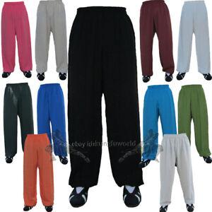 Soft Linen Kung fu Tai chi Pants Martial arts Wushu Wing Chun Trousers 25 Colors