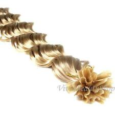 100 U Nail Tip Fusion Deep Wave Curly Remy Human Hair Extension Honey Blonde #16