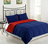 Reversible Down Alternative Comforter Set King Size Bed, Red/Navy Bedding Cover