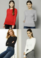 M&S Marks Spencer Women VISCOSE ROUND NECK Ribbed Slim fit Jumper Sweater Top