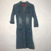 Hot Kiss Women's Dress sz M Y2K / 90's Pearl Snap Denim Belted Pockets Dress