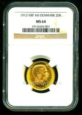DENMARK 1913 VBP AH GOLD COIN 20 KRONER * NGC CERTIFIED GENUINE MS 64 * GORGEOUS