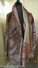 Stola Indische Woll Pashmina Gold-Rot-Silberfaden Handgefertigt Paisleymuster