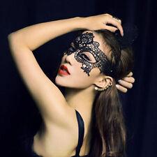 Misterioso Sexy Encaje Negro Máscara Velo Recubrir Cara Fiesta Baile Mujer HOT