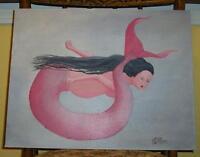 MERMAID PREGNANT WOMAN PINK NAUTICAL OCEAN LISTED ARTIST ORIGINAL OIL PAINTING