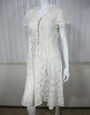 J.J.Greenwood Vintage Short Sleeve Lace Dress Size S, White