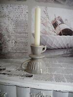 Kerzenständer Kammerleuchter Keramik grau shabby chic Kerzenhalter Landhaus 0093