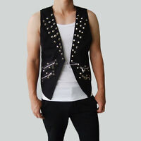 Men Punk Vest Jacket Slim Short Nightclub Rock Stud Spike Zipper DJ Waistcoat