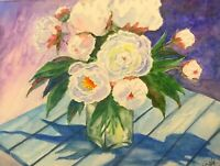 """Summer Delight"" ORIGINAL signed watercolor painting peony flower bonquet"