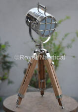 Nautical Vintage Antique Spotlight Table/Floor Lamp Wooden Tripod LED Lighting