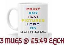 3 x Personalised Mug Any Text Message Logo Image Picture +  free Delivery