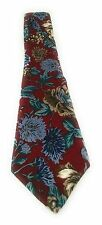 "Halston Neck Tie Dark Red w/ Floral Pattern 100% Italian Silk Mens L57"" W3 3/4"""