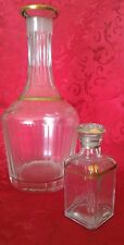 bottiglia antica primi 900 in cristallo con profili dorati