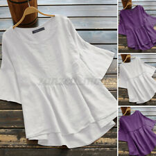 Women Cotton Short Sleeve Summer T-Shirts Solid Tunic High Low Blouses Tops Plus