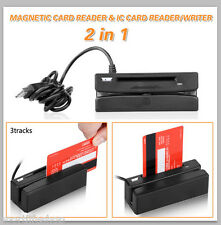 2in1 IC Chip Reader/Writer Card + USB 3 Track Magnetic Stripe Credit Card Swipe