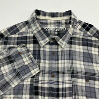 Mossimo Button Up Shirt Men's 2XL XXL Long Sleeve Multi Plaid Casual 100% Cotton