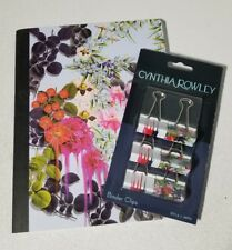 Cynthia Rowley Composition Notebook & Binder Clips - New