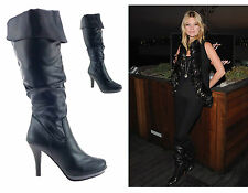 LADIES WOMENS KNEE HIGH BLOCK HEEL FAUX LEATHER PIRATE STYLE BOOTS SHOES SIZE