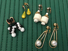 Vintage 4 Sets Retro Dangle Clip Earrings. Estate Jewelry. FREE SHIPPING!!!